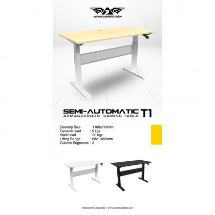 Armaggeddon Semi Auto T1 Gaming Table | Height Adjustable | Ergo Desk | Klang Valley Only | 1 Year Warranty
