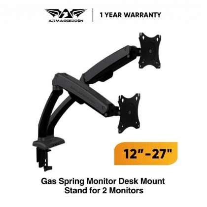 """Armaggeddon M2 Dual Monitor Arm Desk Mount Stand Full Motion For 12 - 27"""" Monitors"""