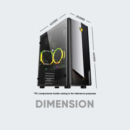 Armaggeddon Tron II - ATX Gaming PC Case with Tempered Glass Side Panel Design ATX Gaming PC Case [Free PC Cooling Fan]