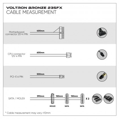 Armaggeddon Voltron Bronze 235FX Power Supply With 120mm LED Fan (242W)