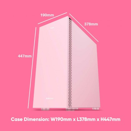 Armaggeddon Ruby B-V Pink ATX Gaming PC Case | Strong Compatibility | Tempered Glass Side Panel | 1 Year Warranty